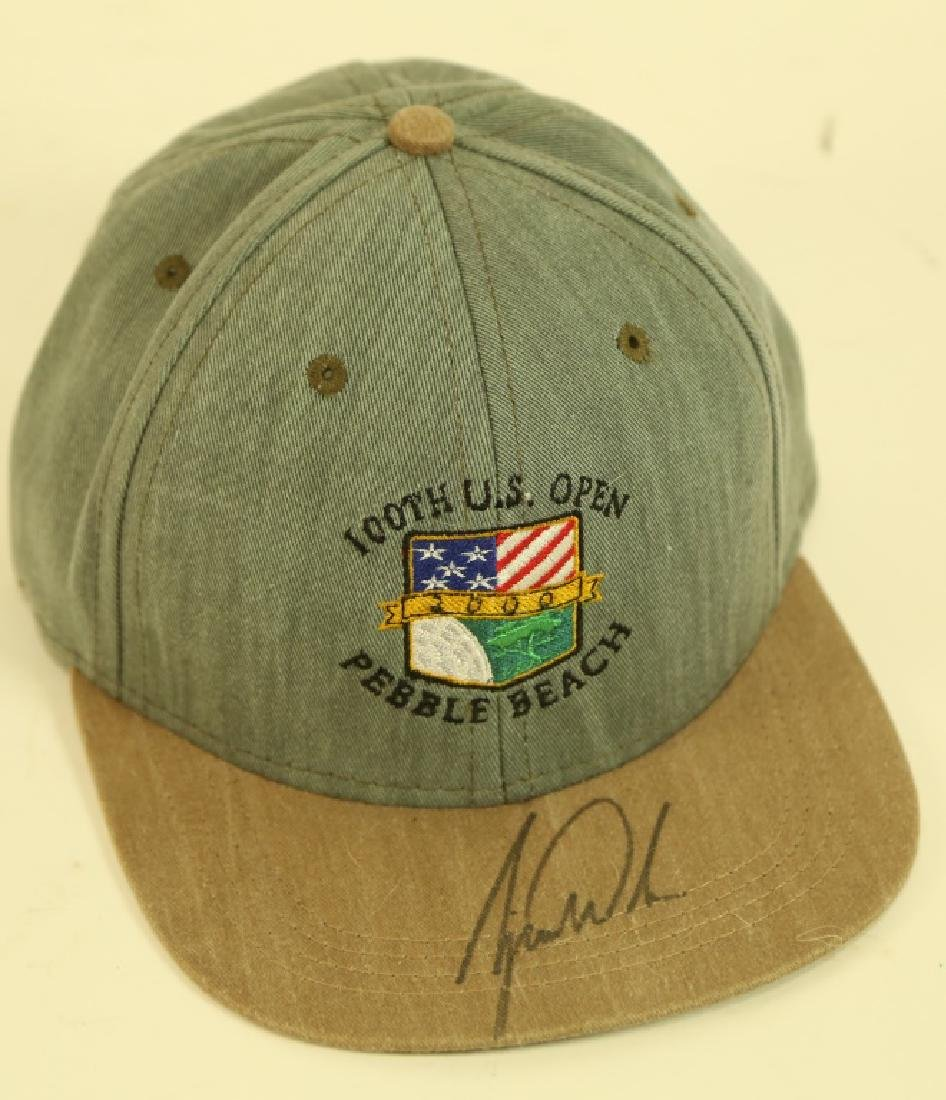 US OPEN HAT SIGNED TIGER WOODS IN PRESENTATION BOX