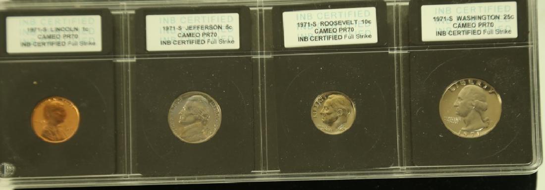 SET OF SEVEN CAMEO PR70 COLLECTOR COINS - 7