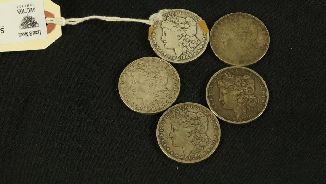 LOT OF  FIVE 19TH CENTURY LIBERTY SILVER DOLLARS