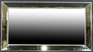 CONTEMPORARY PANELED FRAMED BEVELED GLASS MIRROR