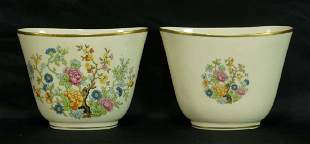 PAIR OF PAINTED PORCELAIN CACHEPOTS