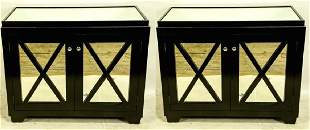 PAIR OF MIRRORED TOP EBONIZED CABINETS