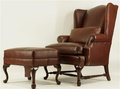 Stupendous Ethan Allen Leather Wing Chair Ottoman Short Links Chair Design For Home Short Linksinfo