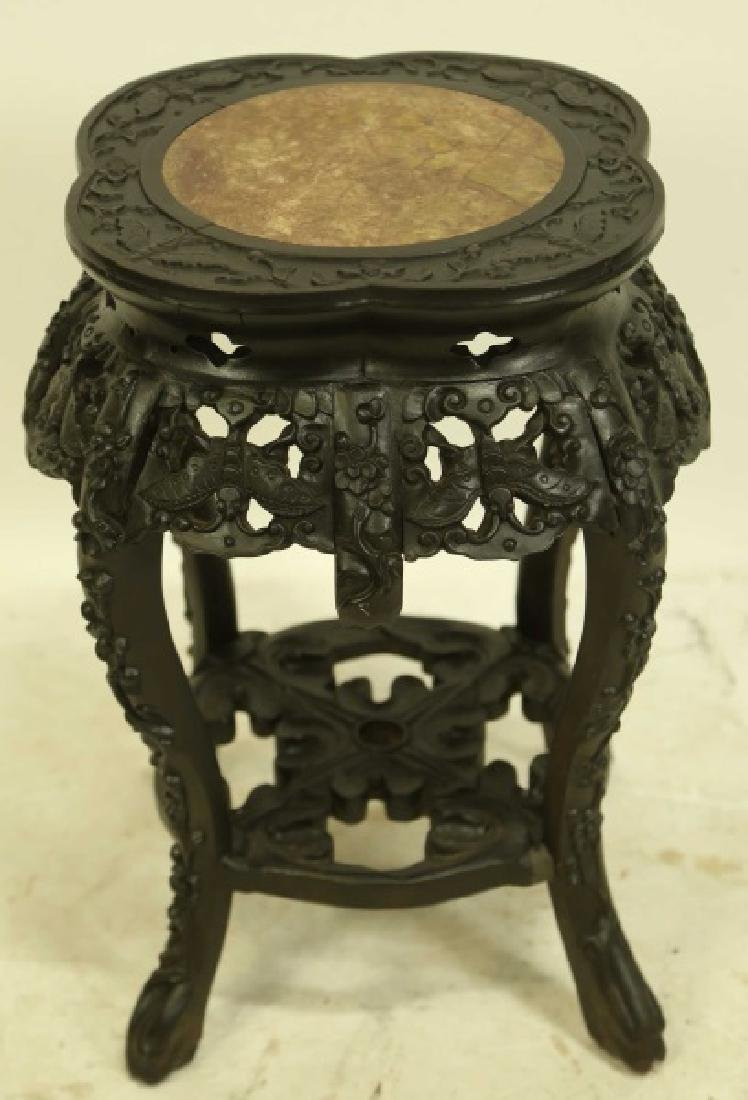 19th CENTURY CHINESE CARVED MARBLE TOP PEDESTAL TA