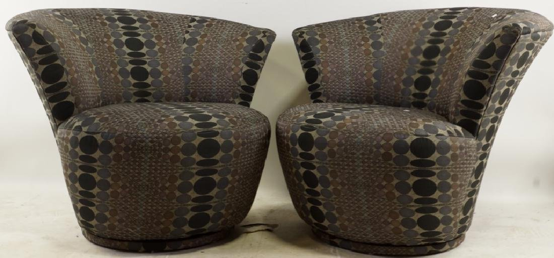 PAIR OF ART DECO INSPIRED SWIVEL CHAIRS