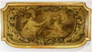 "19th CENTURY ""CHERUB & FEMALE"" OIL ON CANVAS"