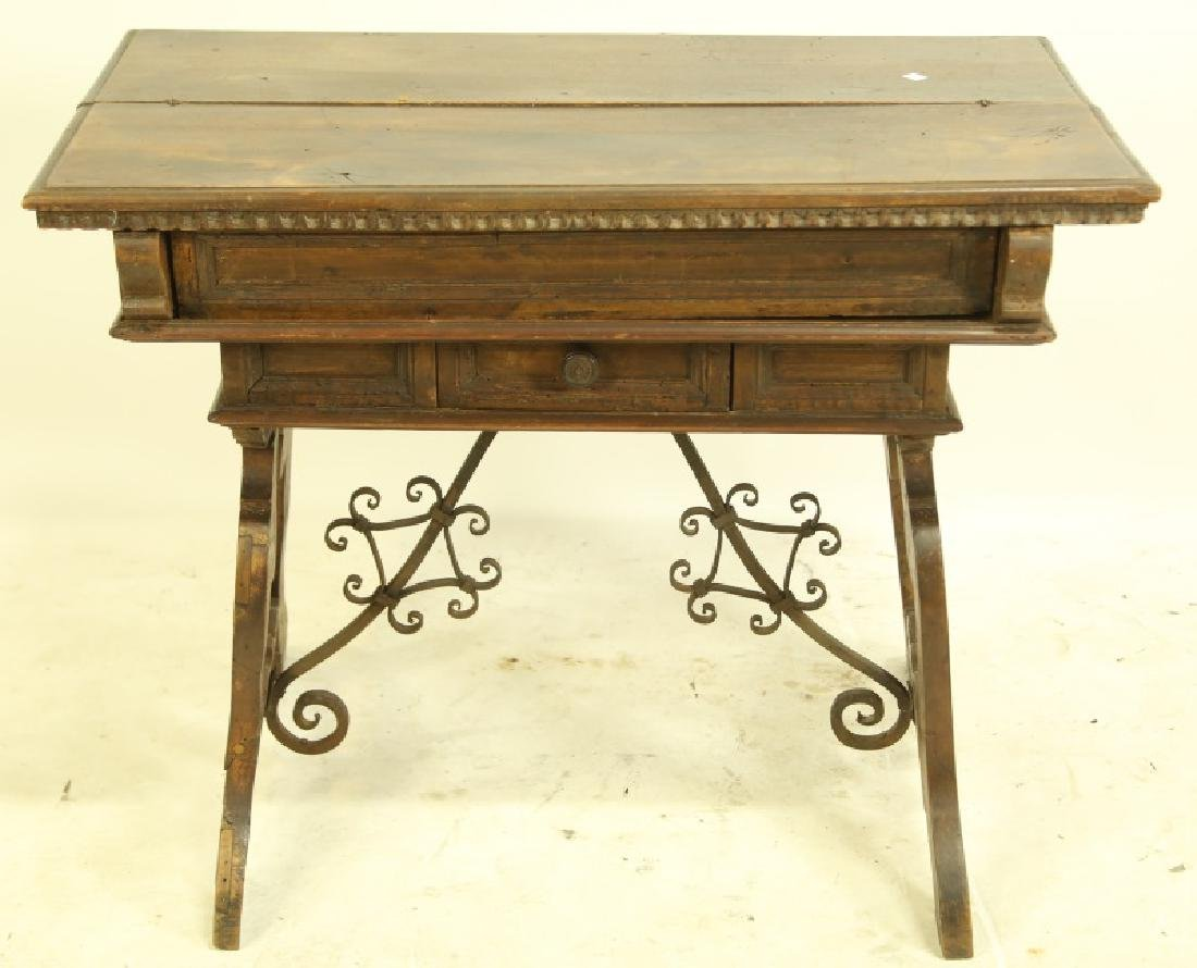 19th CENTURY SPANISH CARVED LIFT TOP DESK