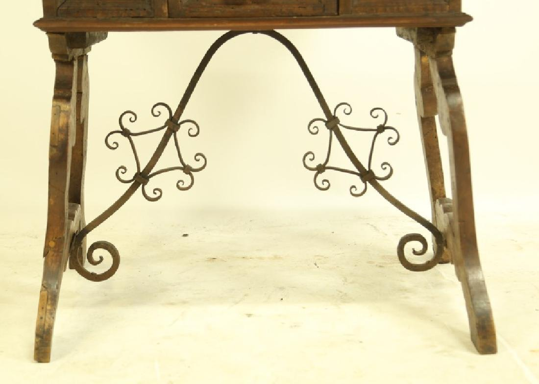 19th CENTURY SPANISH CARVED LIFT TOP DESK - 2