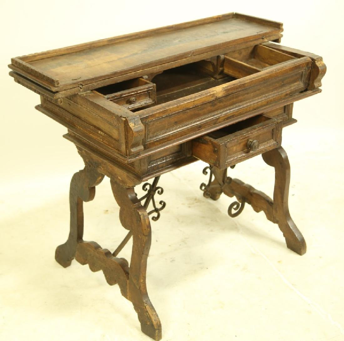 19th CENTURY SPANISH CARVED LIFT TOP DESK - 4