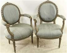PAIR OF VINTAGE FRENCH OVAL BACK ARMCHAIRS
