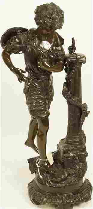 MOREAU 19th CENTURY SHEPHERD BOY BRONZE SCULPTURE