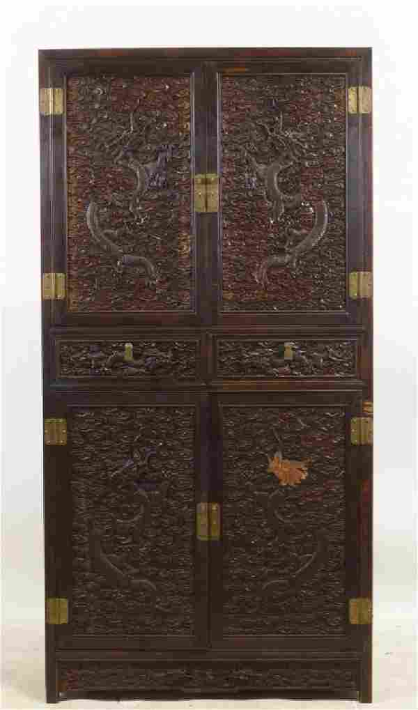 WELL CARVED JAPANESE TANSU CABINET WITH TWO DOORS ABOVE