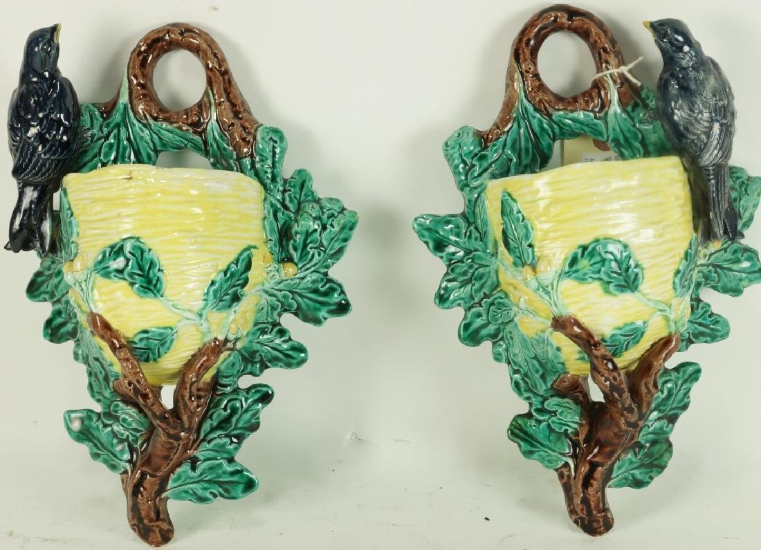 PAIR OF MAJOLICA WALL POCKETS
