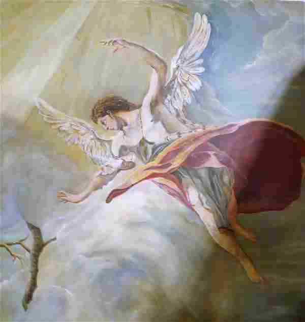 SAN MIGUEL ARTIST ANGEL ACRYLIC ON CANVAS