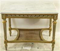 VINTAGE FRENCH CARVED MARBLE TOP COFFEE TABLE