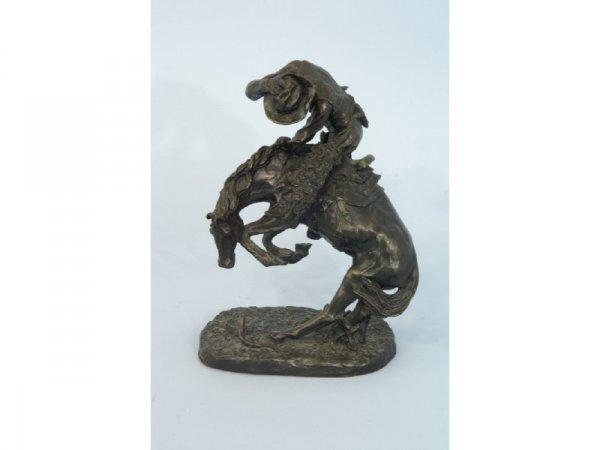 "1004: ""The Rattlesnake"" bronze figurine cowboy & horse"