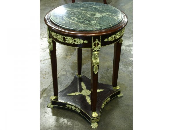 1010: Wood four legged side table with marble top