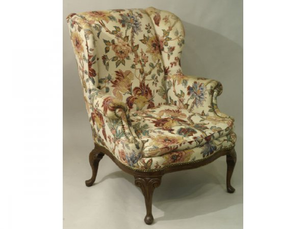 1014: Georgian style wing chair w/ floral pattern