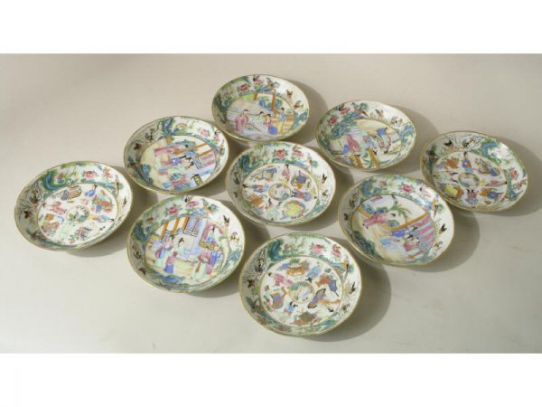 1017: Antique hand painted Rose Famille china