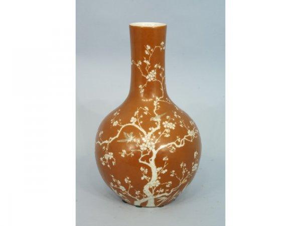1038: Antique terracotta-colored vase w/oriental design