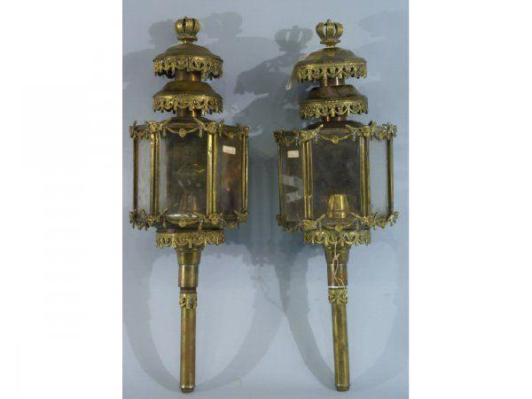 1192: Pair of 19th C. brass carriage lanterns