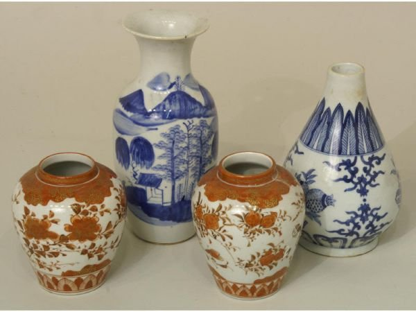 1016: 4 piece group antique pottery: 2 blue and white v
