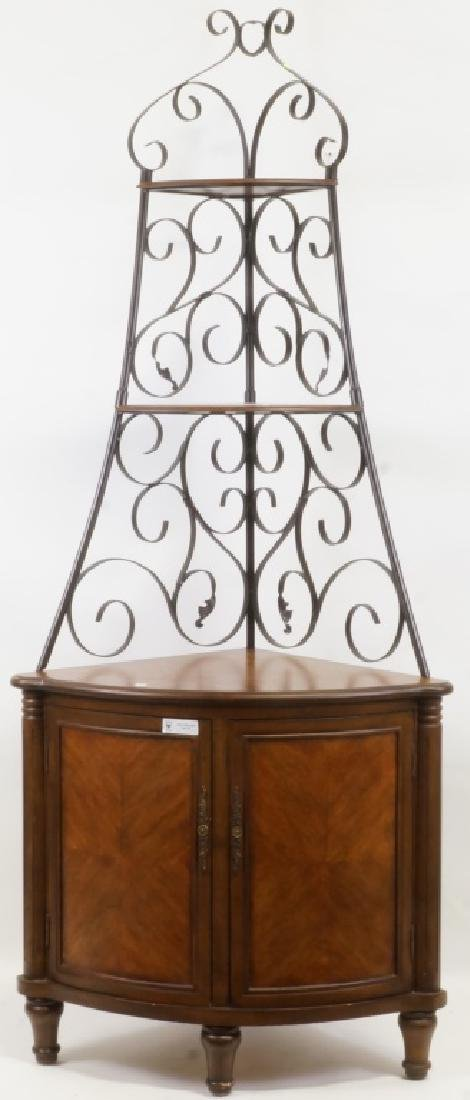 THREE-TIERED ETAGERE CABINET WITH TWO DOORS