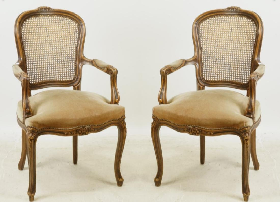 PAIR OF FRENCH SUEDE SEAT ARMCHAIRS W/WICKER BACKS