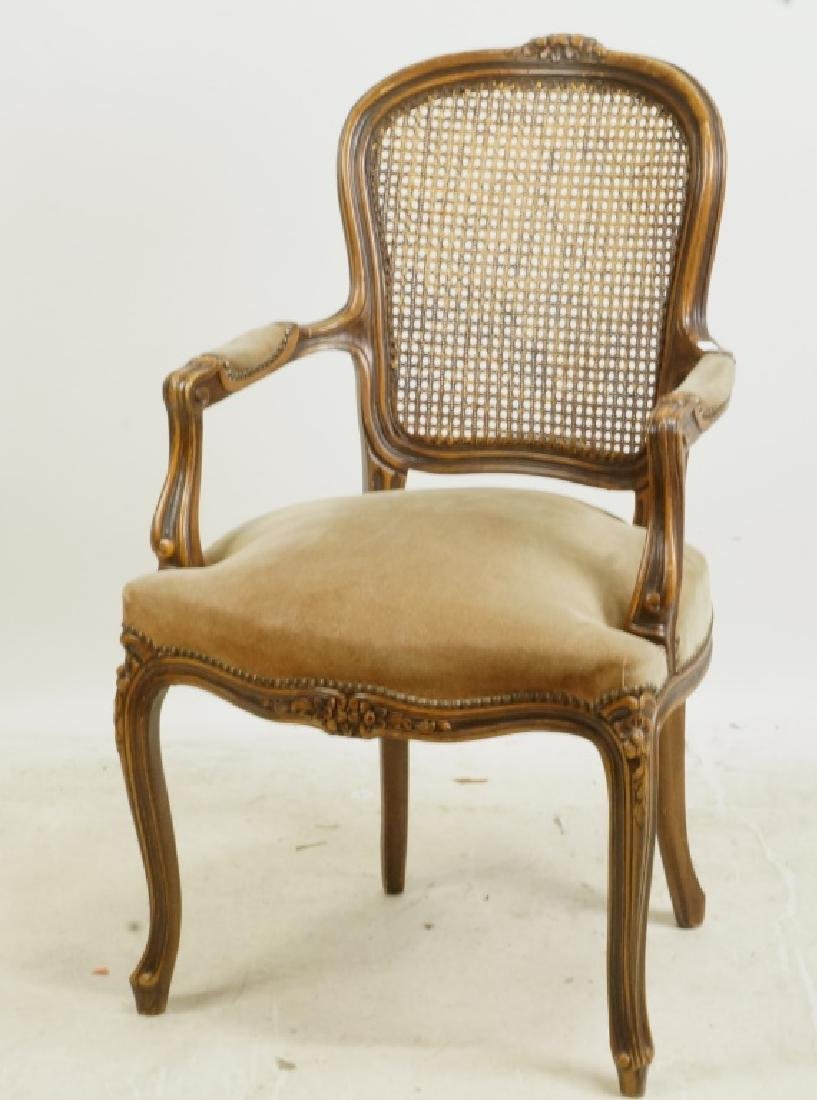 PAIR OF FRENCH SUEDE SEAT ARMCHAIRS W/WICKER BACKS - 2