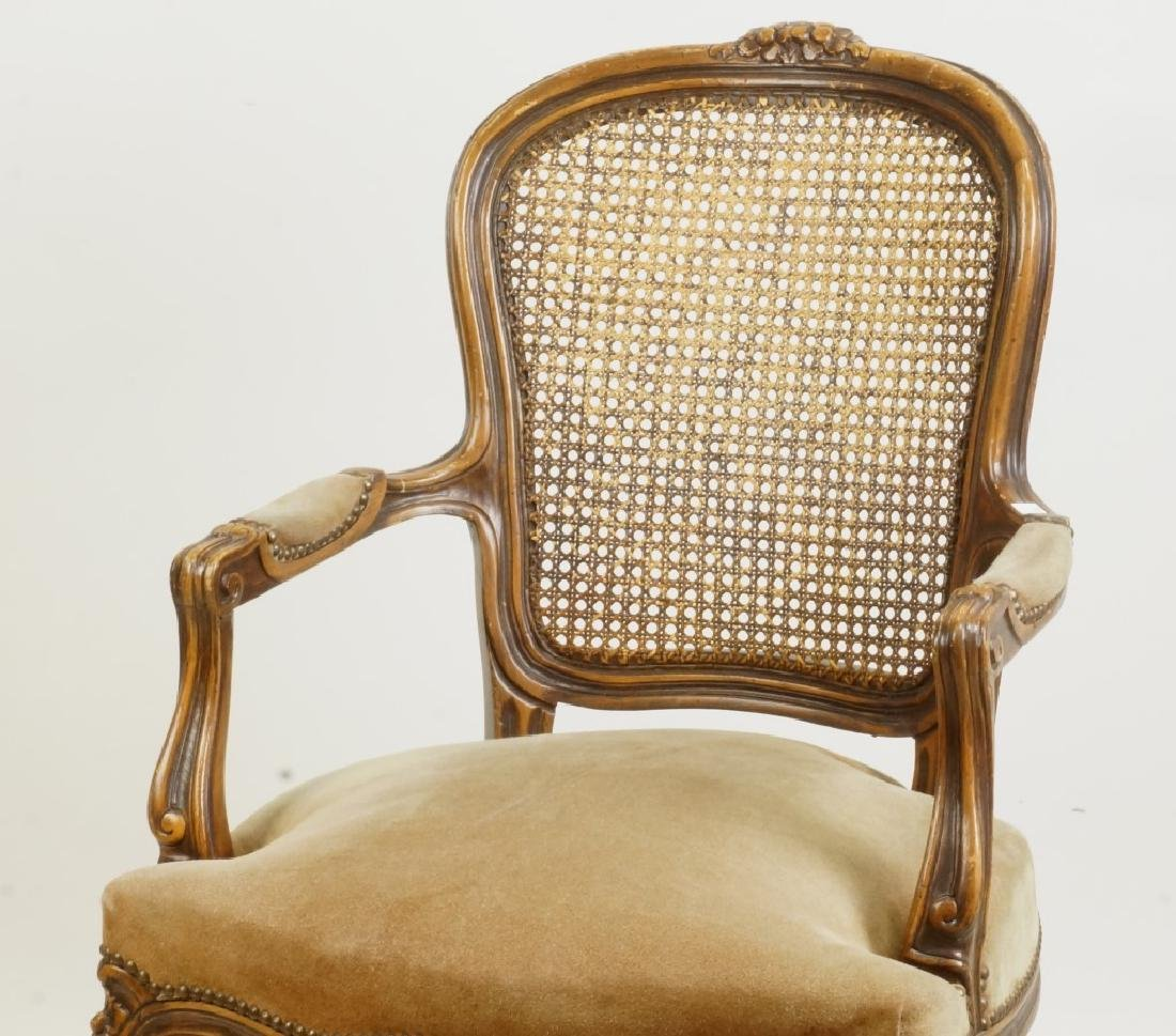 PAIR OF FRENCH SUEDE SEAT ARMCHAIRS W/WICKER BACKS - 3