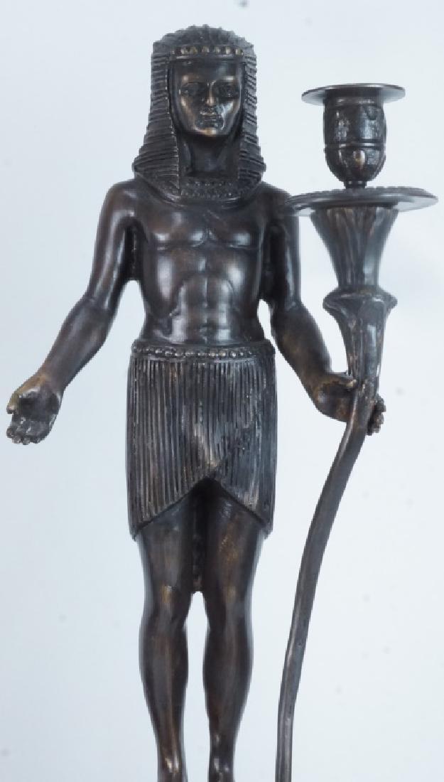 PAIR OF BRONZE EGYPTIAN FIGURE CANDLESTICKS - 3