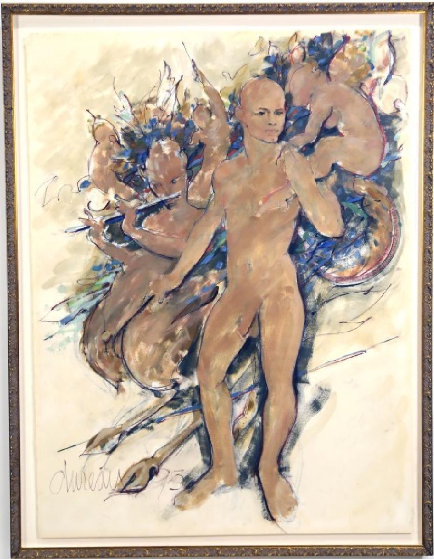 "GEORGE DUREAU ""STANDING BART"" MIXED MEDIA, 1993"