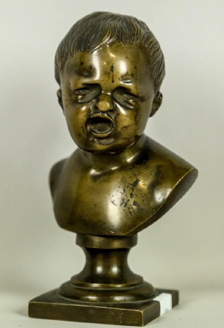 19th CENTURY BUST OF CRYING CHILD SCULPTURE - 2