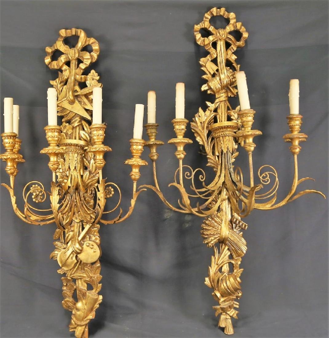 PAIR OF ITALIAN BAROQUE FIVE LIGHT  WALL SCONCES