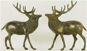 PAIR OF BRONZE STAG FIGURES