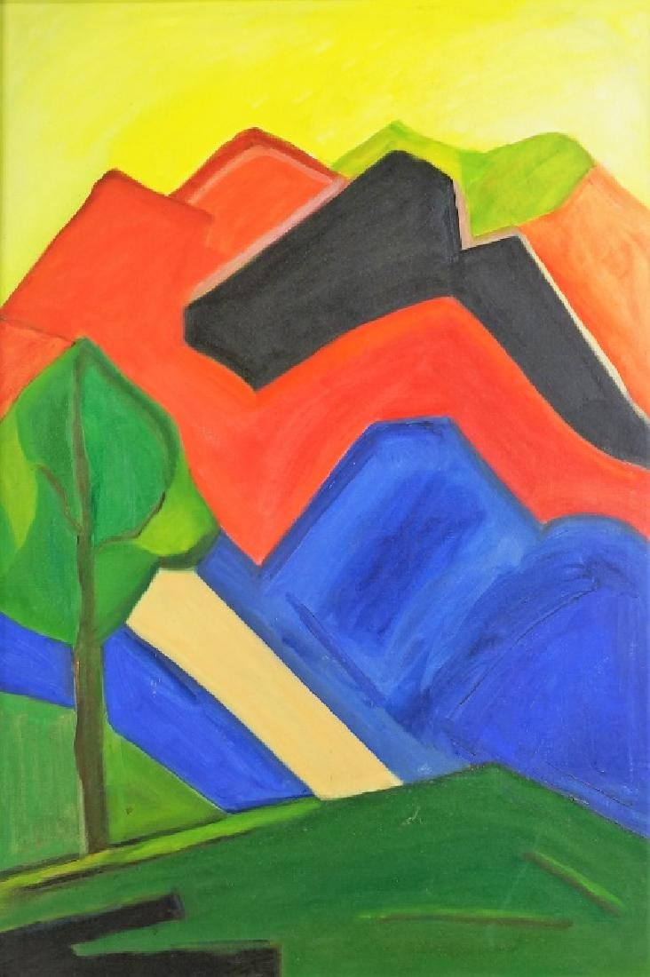 UNSIGNED ABSTRACT LANDSCAPE ACRYLIC ON CANVAS PAINTING