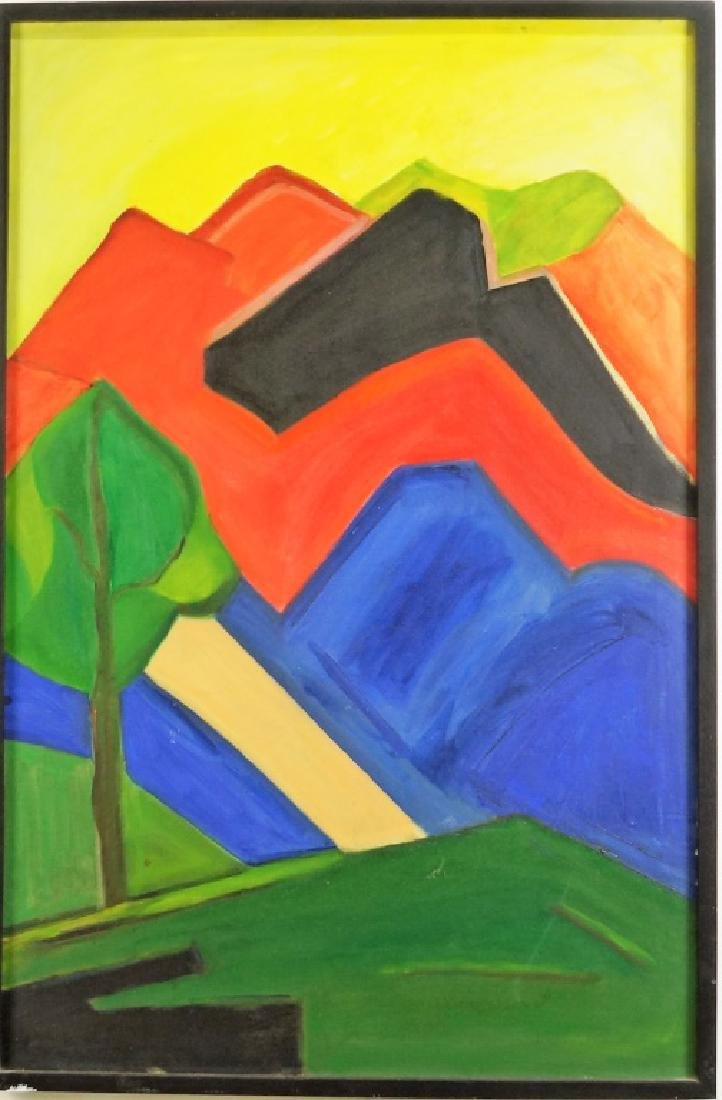 UNSIGNED ABSTRACT LANDSCAPE ACRYLIC ON CANVAS PAINTING - 2