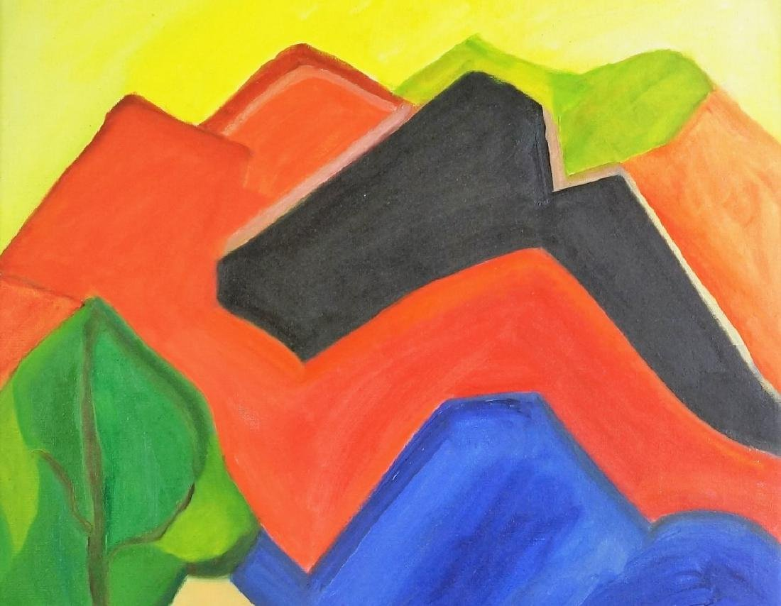 UNSIGNED ABSTRACT LANDSCAPE ACRYLIC ON CANVAS PAINTING - 3