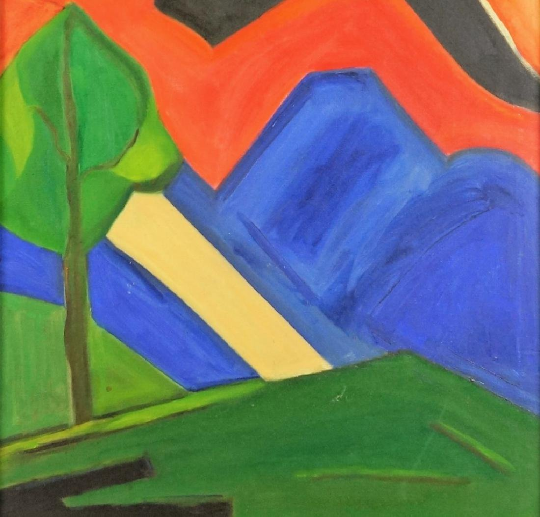 UNSIGNED ABSTRACT LANDSCAPE ACRYLIC ON CANVAS PAINTING - 4