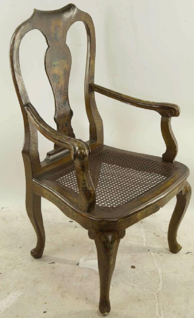 VINTAGE QUEEN ANNE STYLE ARMCHAIR WITH WICKER SEAT