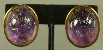 LADYS 14K GOLD CARVED AMETHYST CABOCHON EARRINGS