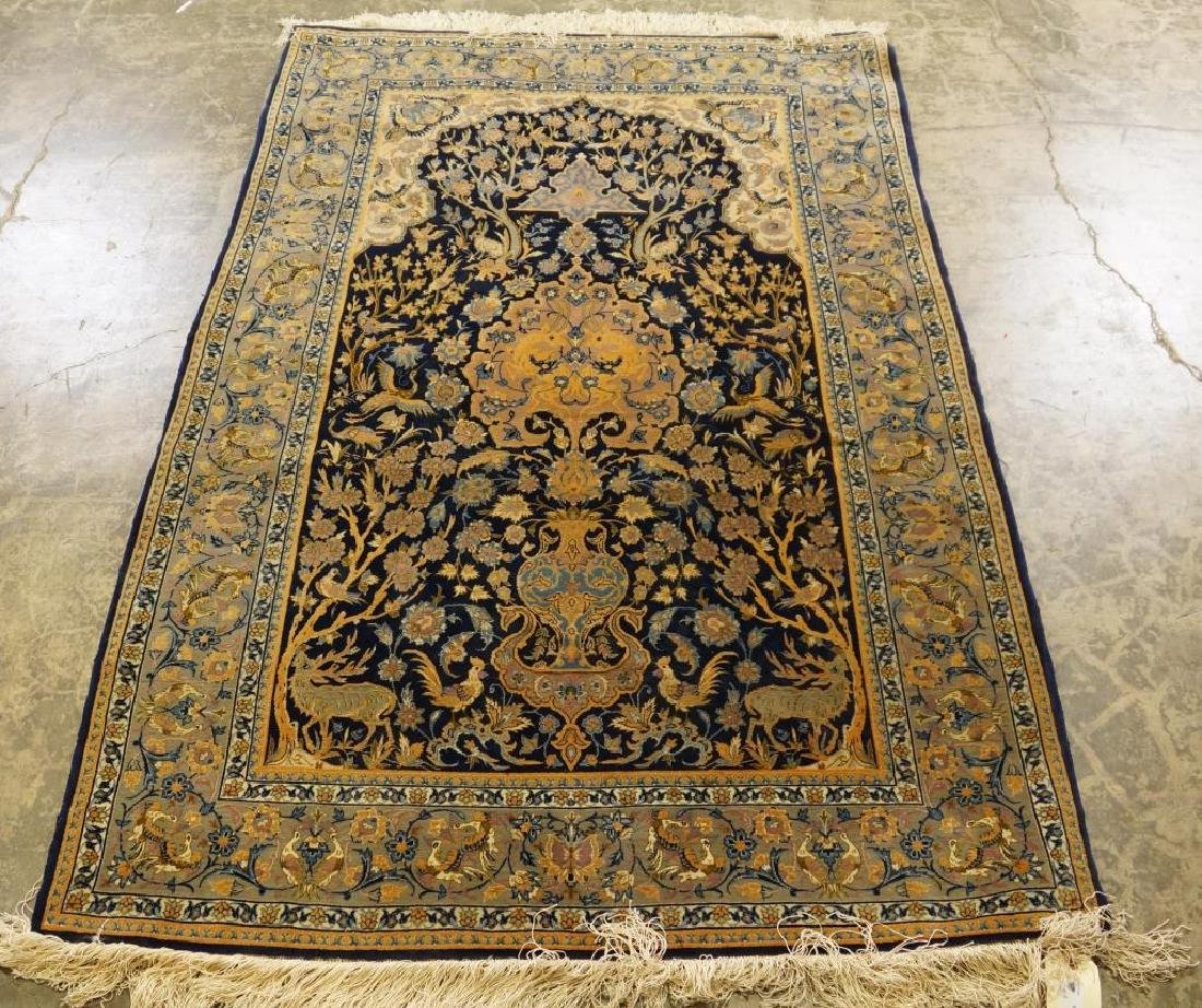 HAND KNOTTED PERSIAN SILK QUM RUG - 2