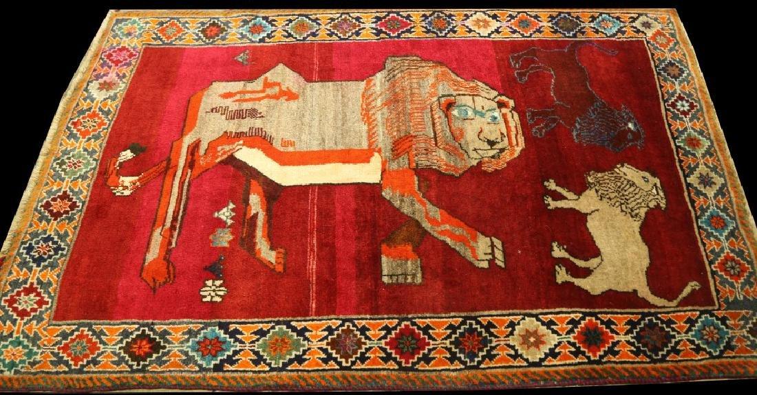 SEMI-ANTIQUE PICTORIAL PERSIAN LION RUG