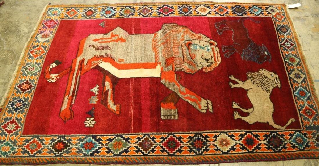 SEMI-ANTIQUE PICTORIAL PERSIAN LION RUG - 2