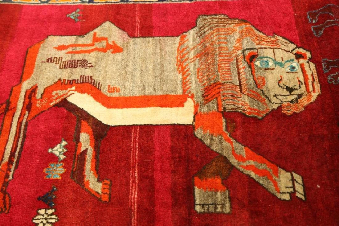 SEMI-ANTIQUE PICTORIAL PERSIAN LION RUG - 3