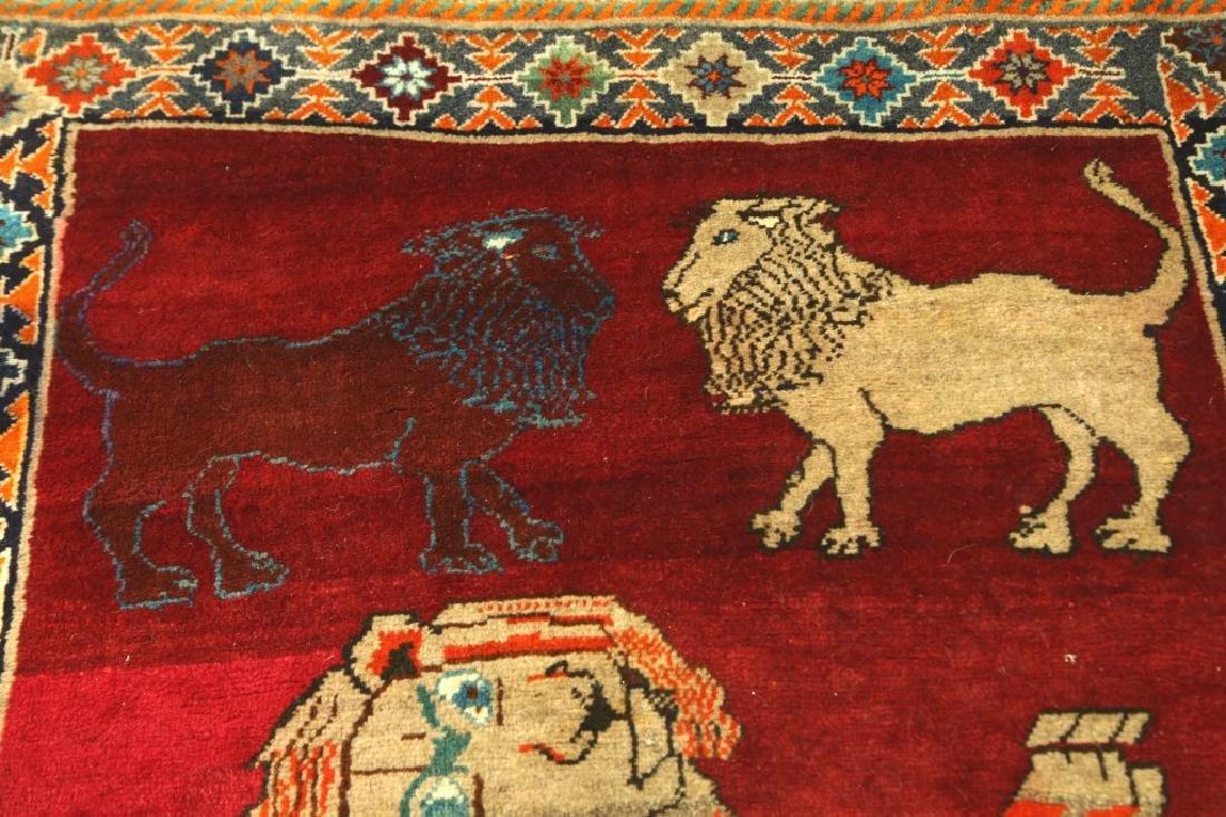 SEMI-ANTIQUE PICTORIAL PERSIAN LION RUG - 4