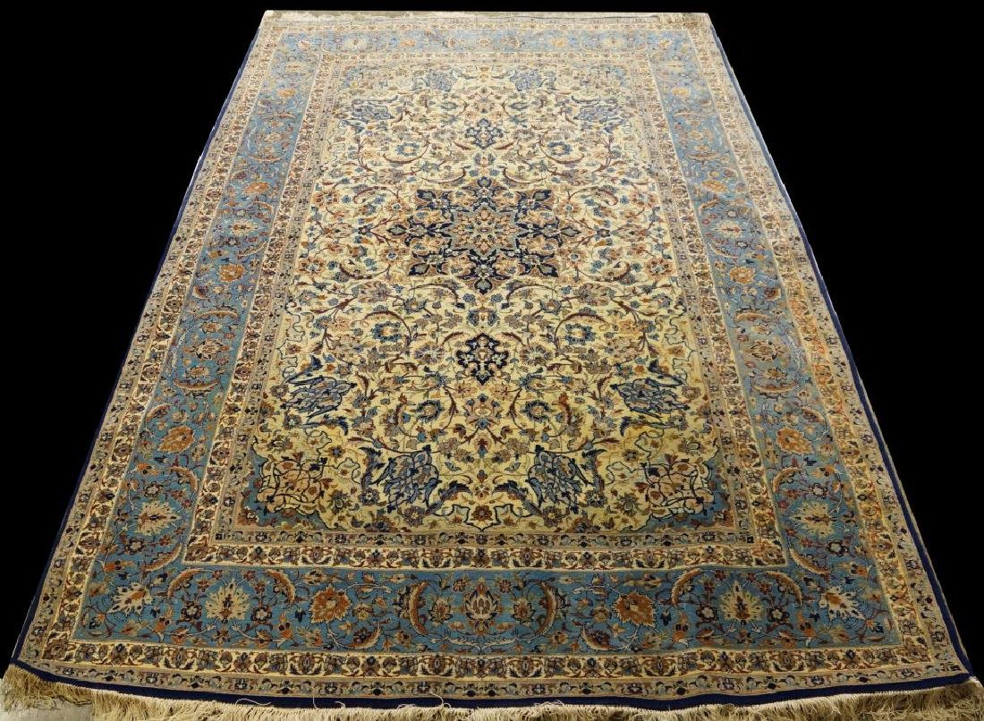 HAND KNOTTED PERSIAN SILK & WOOL ISFAHAN RUG