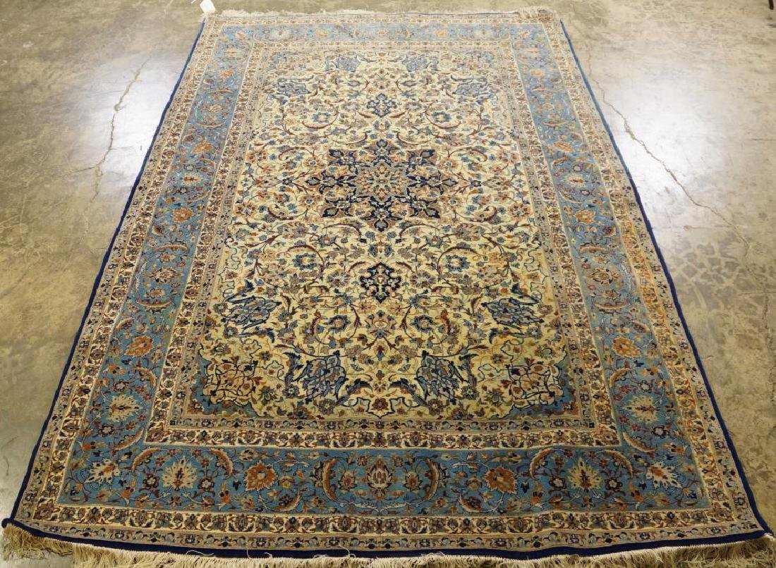 HAND KNOTTED PERSIAN SILK & WOOL ISFAHAN RUG - 2