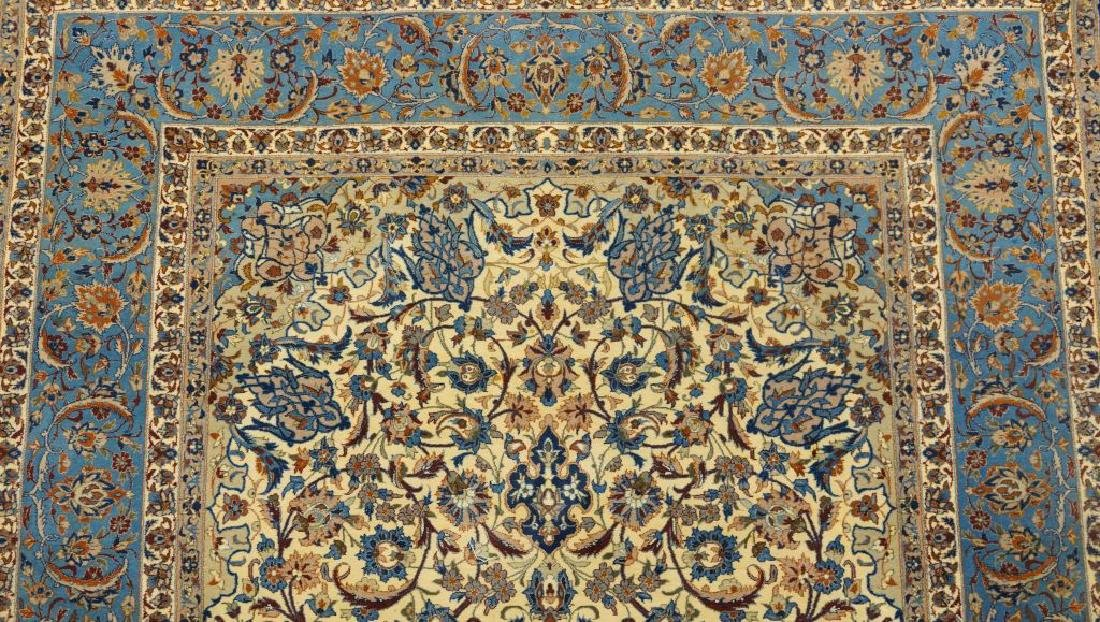 HAND KNOTTED PERSIAN SILK & WOOL ISFAHAN RUG - 3