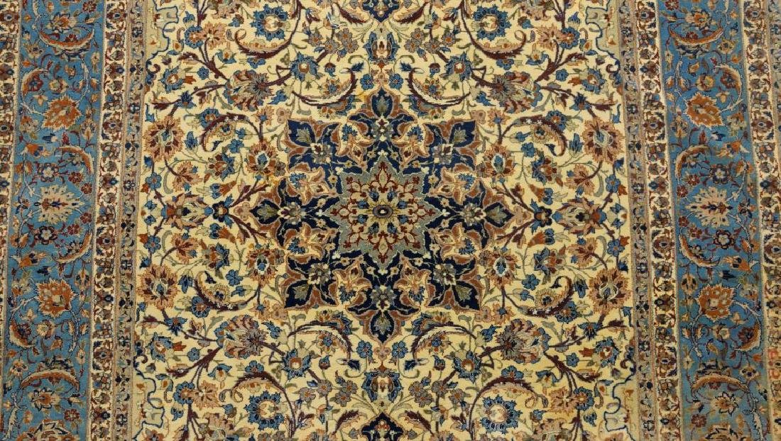 HAND KNOTTED PERSIAN SILK & WOOL ISFAHAN RUG - 4